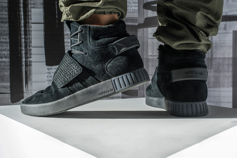 """Foot Locker & adidas Launch a """"Triple Black"""" Colorway of the Strapped Tubular Invader"""