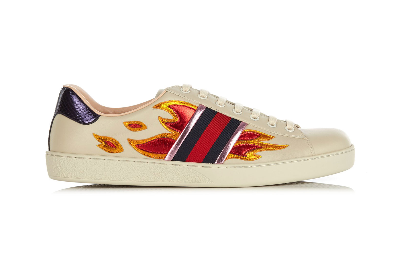 Gucci Gets Fiery With These New Metallic Flame Low Top Trainers