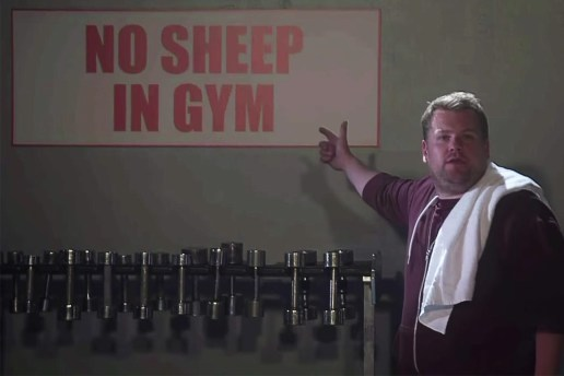 "James Corden Can't Complete His Reps in Hilarious Parody of Kanye West's ""Fade"""