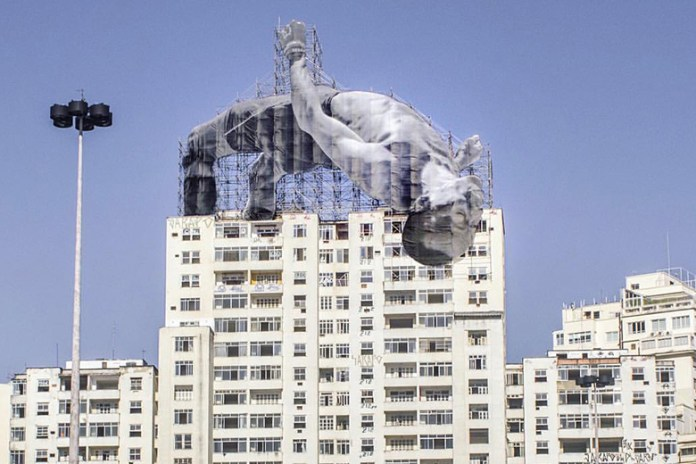 JR Installs Larger-Than-Life Athletic Figures in Rio De Janeiro