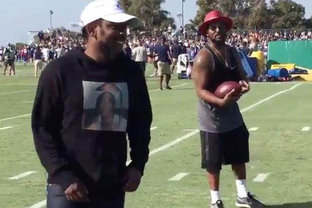 Kendrick Lamar & ScHoolboy Q Test Their Football Skills at the Los Angeles Rams' Training Camp