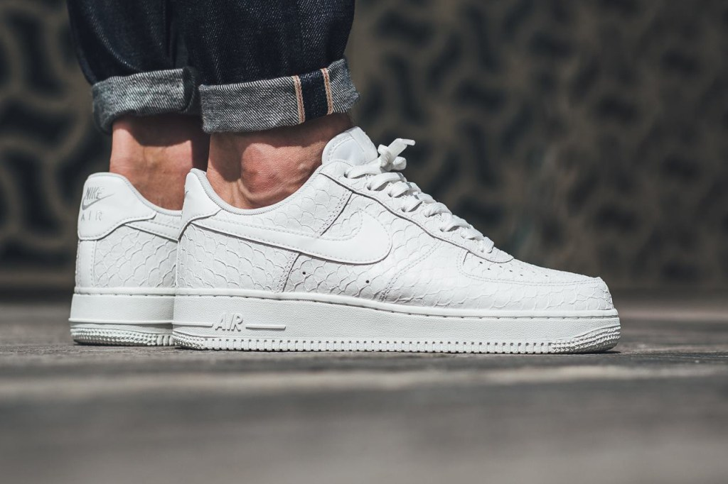 the nike air force 1 dons a textured triple white leather air force 1 flyknit