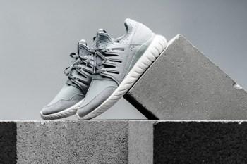 "The adidas Originals Tubular Radial Returns in ""Light Grey/Vintage White"""