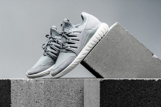 "The adidas Originals Tubular Radial Returns in ""Light Grey/Vintage White"""
