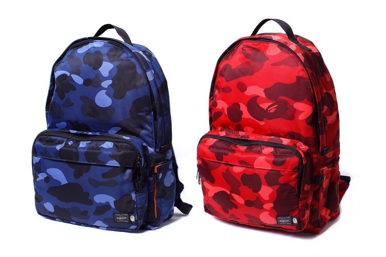 Bags for school 2016 - Bathing Ape Revamps Porter Items With Color Camo Prints