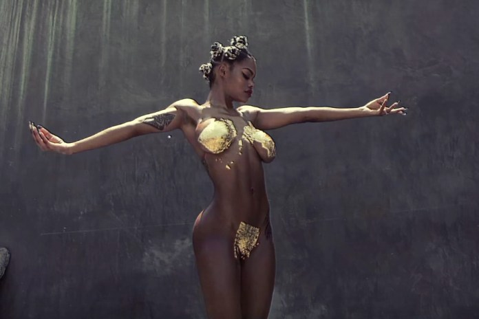 """Teyana Taylor Gets Showered With Gold Flakes for """"Champions"""" Freestyle Video"""