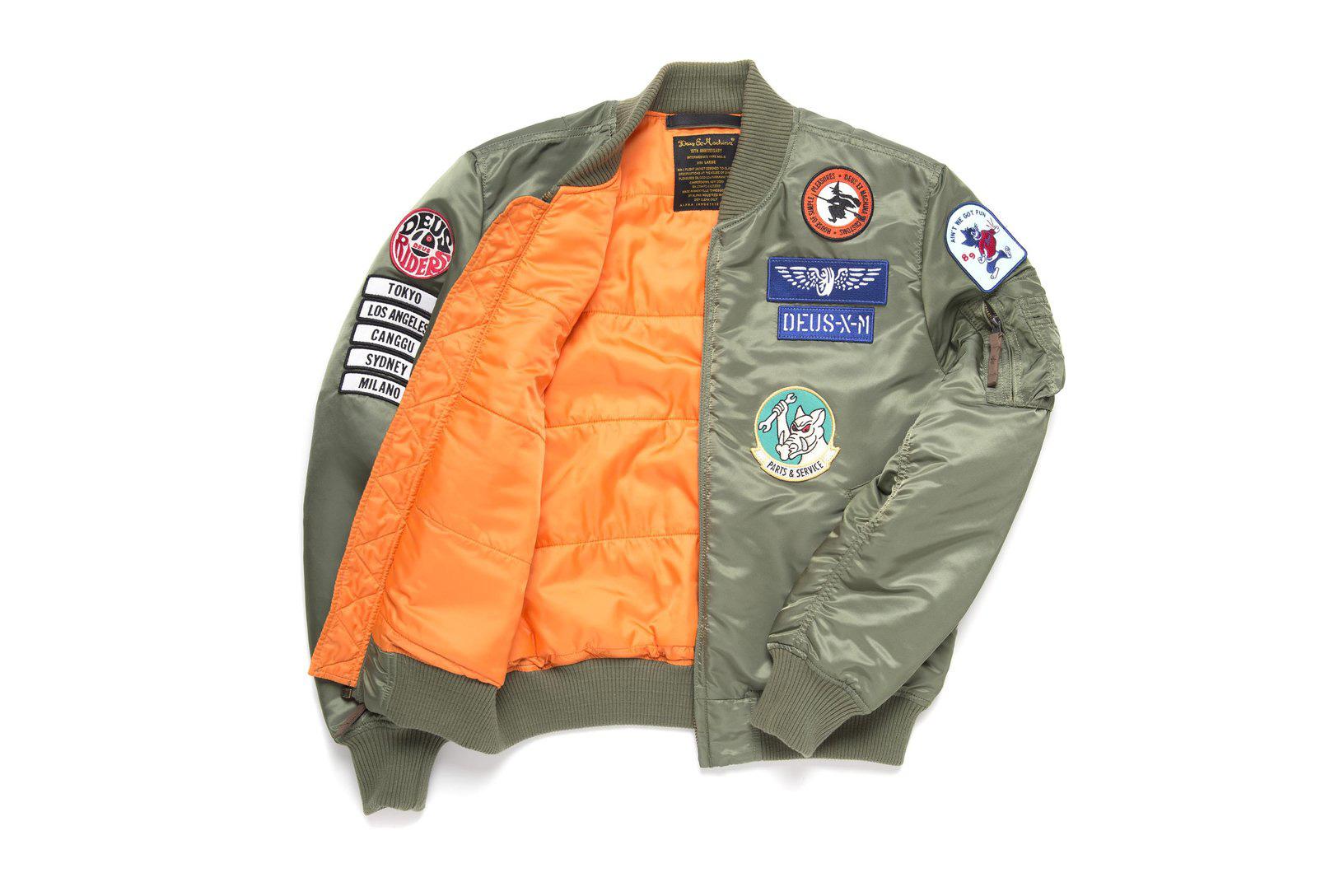 Deus Ex Machina Alpha Industries MA 1 Jacket badges olive green