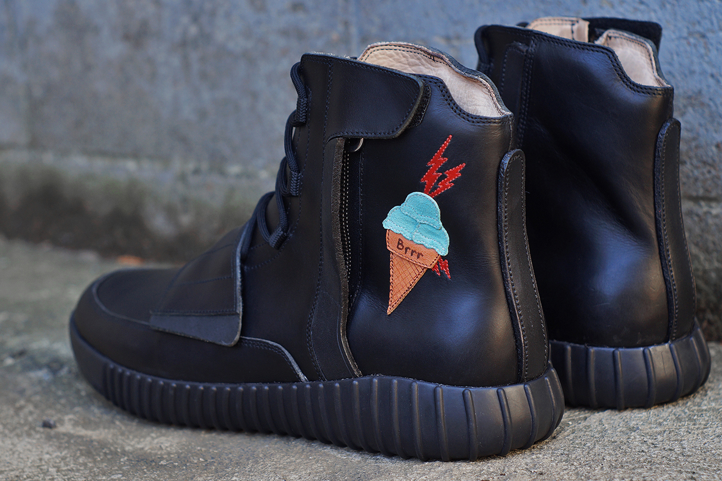 3561bebec32 JBF Customs Yeezy BOOST 750 Ice Cream Decor Gucci Mane Black Leather Water  Resistance Veg Tanned