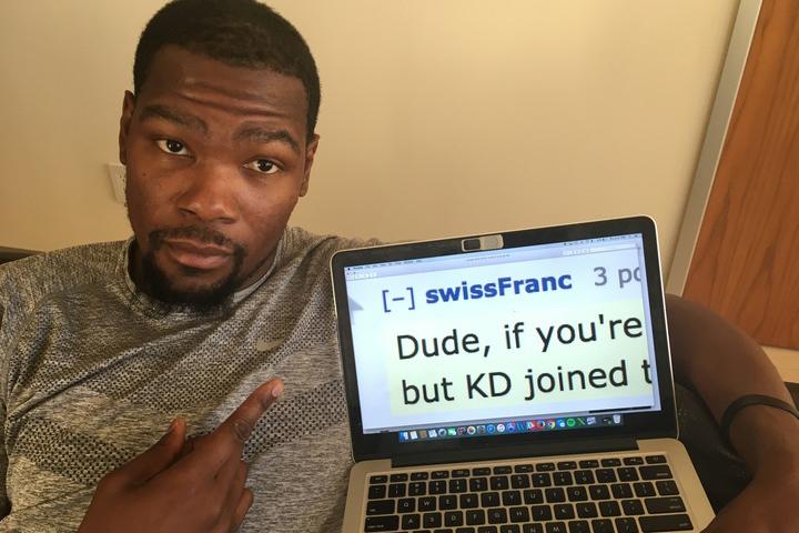 Kevin Durant Asks Reddit for Bay Area Recommendations