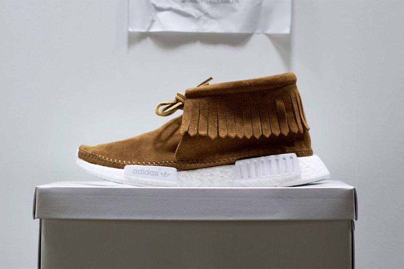 adidas NMD Moccasin Makeover Three Stripes adidas Originals visvim BOOST Sole Custom Sneakers Randy The Cobbler