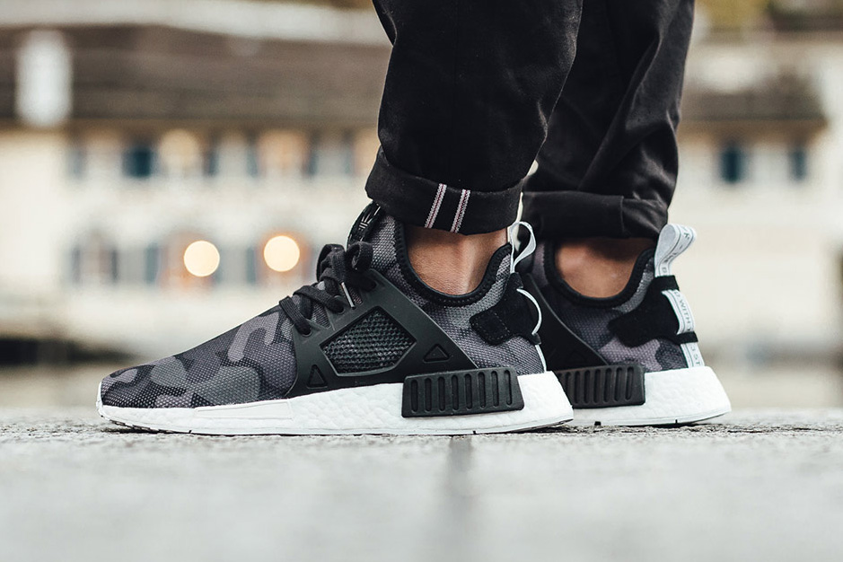 "adidas NMD XR1 ""Duck Camo"" Pack on Foot Look 2016 Fall Winter Sneakers Green Black Pink Blue White"