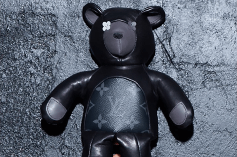 fragment design x Louis Vuitton Leather Bear In Black with LV Logo