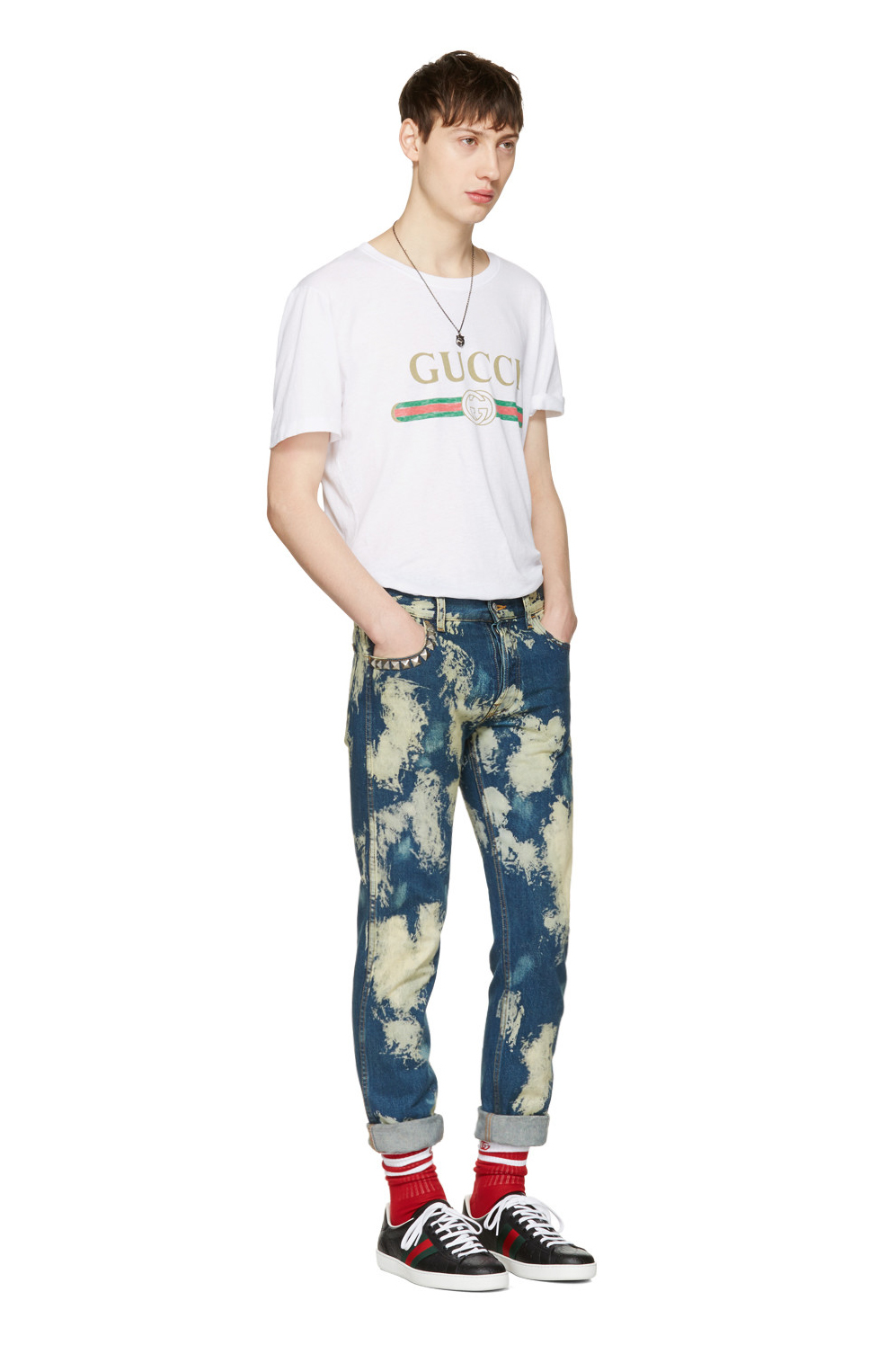 Gucci's Bleached Punk-Inspired Denim Jeans SSENSE - 1807619