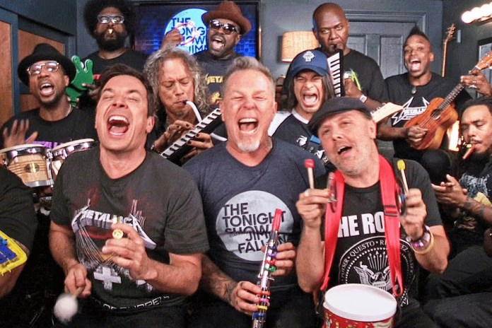"Watch Jimmy Fallon and Metallica Perform ""Enter Sandman"" Using Children's Instruments"