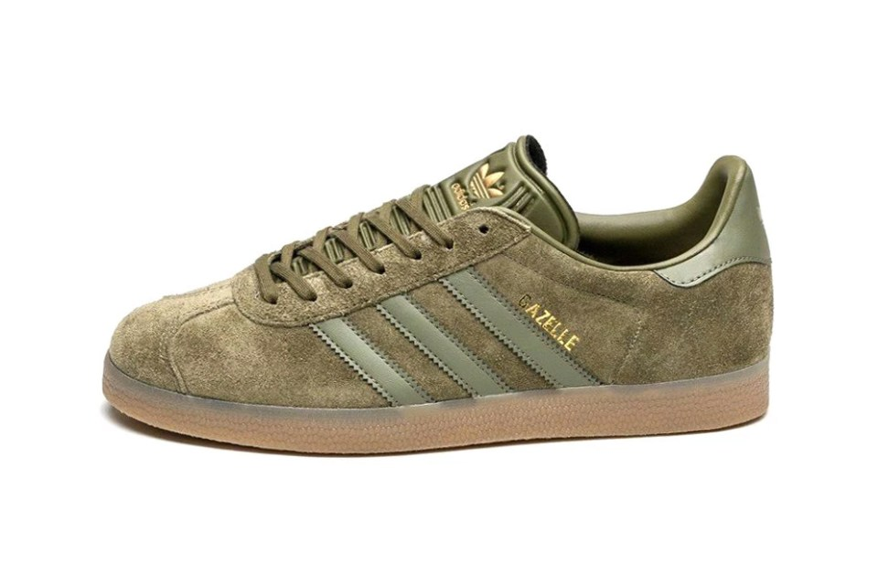 adidas gazelle in olive cargo with gum sole hypebeast. Black Bedroom Furniture Sets. Home Design Ideas