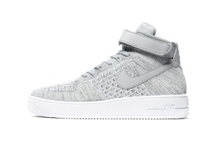 "The Nike Air Force 1 Ultra Flyknit Mid Arrives In ""Heather Grey"""