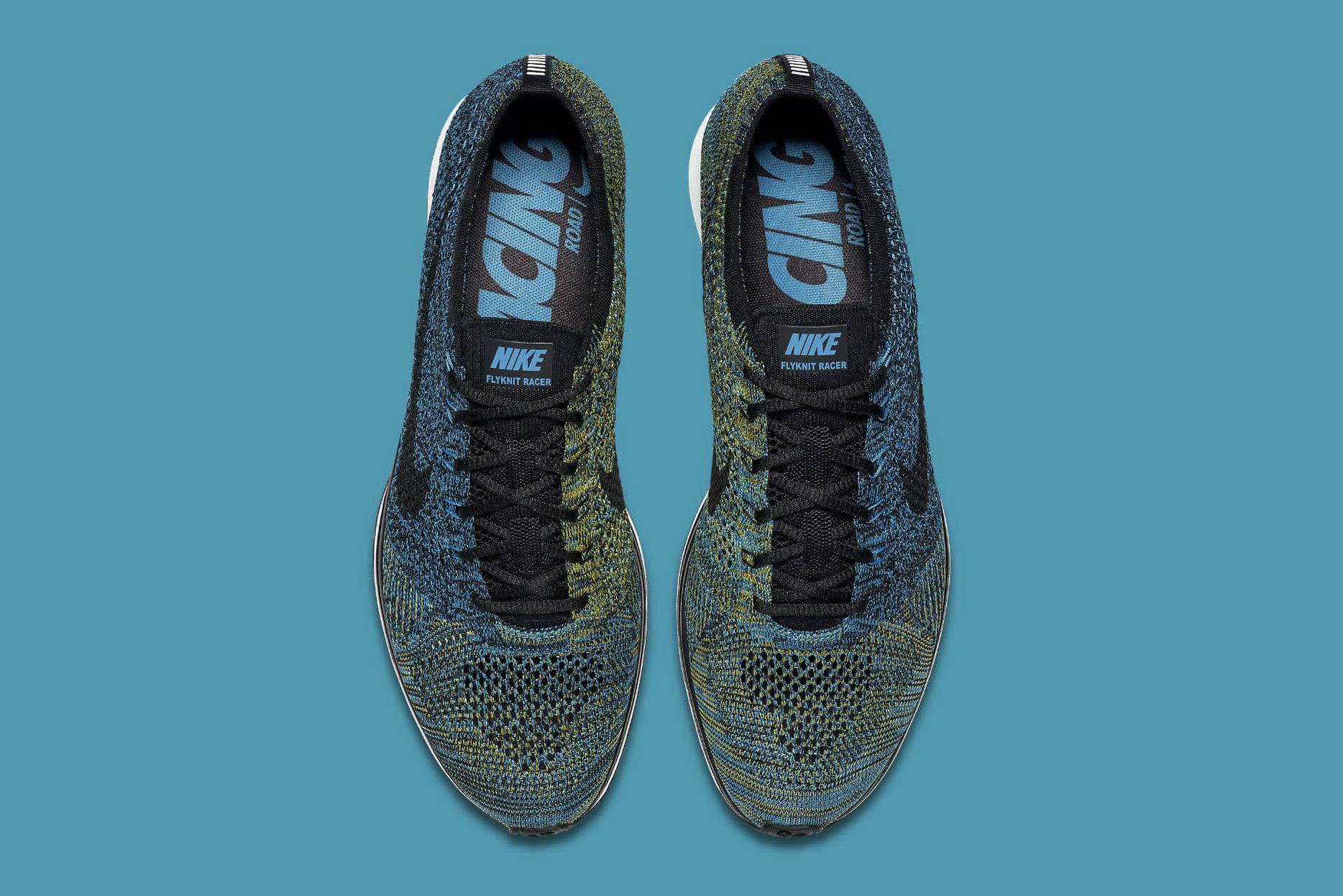 """Nike Flyknit Racer """"Blue Glow"""" Sneakers Swoosh"""