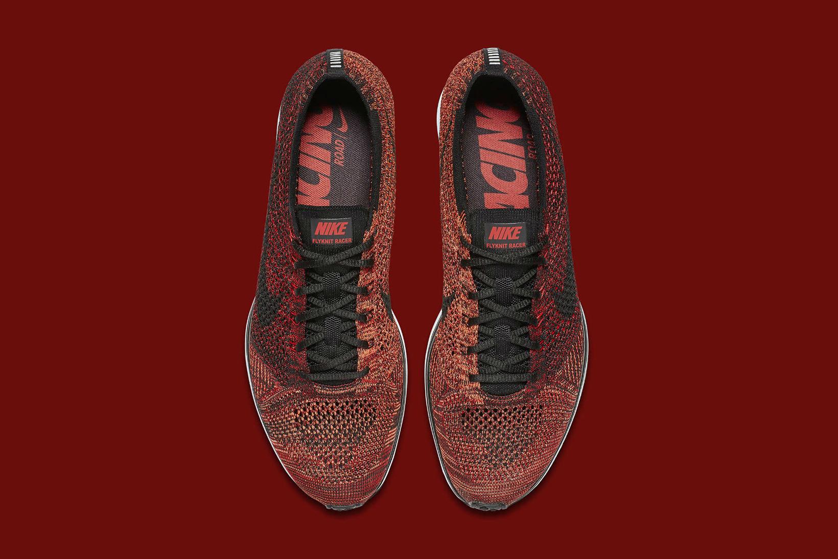 Nike Flyknit Racer University Red Black Bright Mango