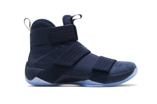 """The Nike LeBron Soldier 10 Gets a Luscious """"Midnight Navy"""" Suede Toe"""