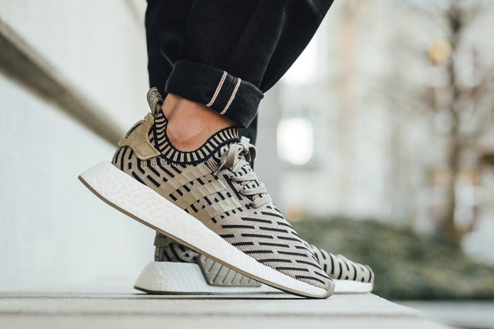 An #OnFeet Look at the Upcoming Black and Olive Green adidas NMD R2 Primeknit
