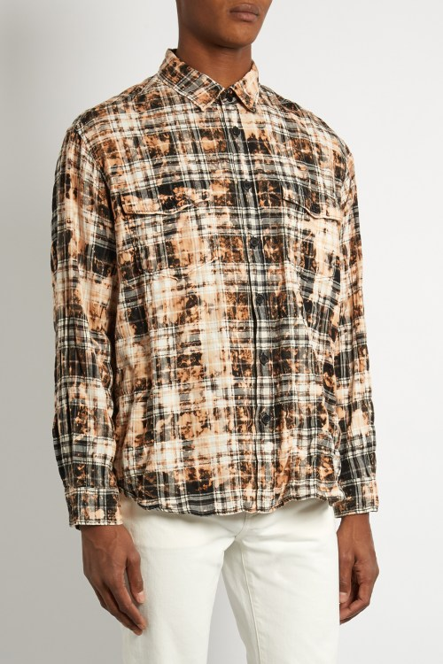 saint laurent bleached checked flannel shirt hypebeast