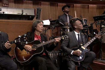 Picture of Super Mario Creator Shigeru Miyamoto Performs Theme Tune with The Roots