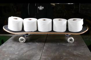 Watch a Hydraulic Press Turn 20 Rolls of Toilet Paper Into a Skateboard