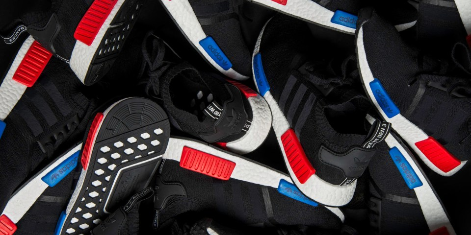 Adidas NMD R1 Primeknit OG White Red Blue S79482 Size 10 5