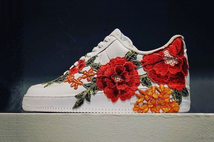 A Gucci Ace Inspired Nike Air Force 1 With Flower Embroidery Surfaces Online