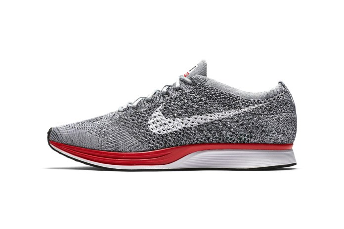 "Nike Unleashes the Flyknit Racer in an Elegant ""Wolf Grey/Red"" Colorway"
