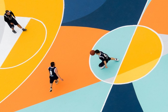 Sicilian Artist Gue Turns Basketball Court Into a Colorful Canvas