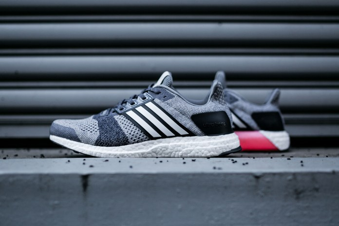 The adidas UltraBOOST ST Returns in a Grey/Navy/Pink Combo