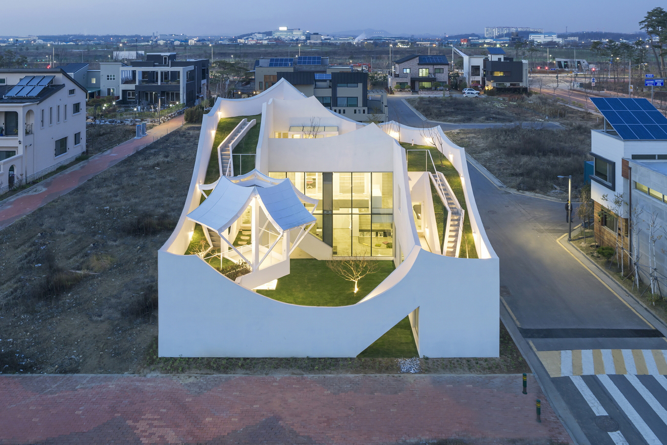 Iroje khm architects built a flying house near incheon for Flying haus
