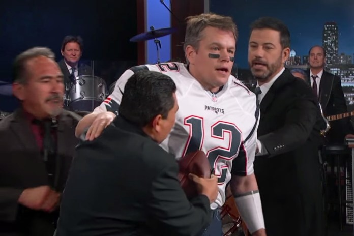 Matt Damon Sneaks Onto 'Jimmy Kimmel Live!' Dressed as Tom Brady