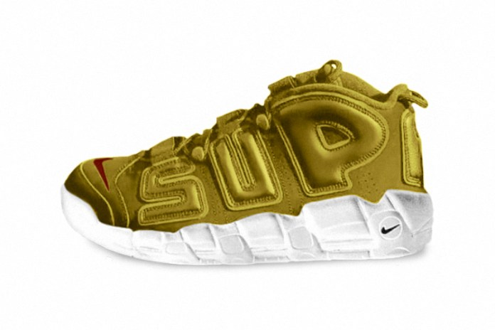 "Neymar Jr. Debuts ""Gold"" Supreme x Nike Air More Uptempos"