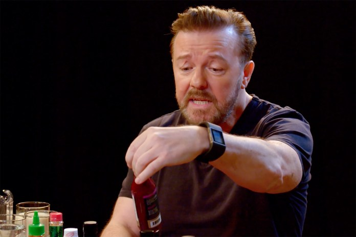Ricky Gervais Joins 'Hot Ones' Wall of Shame