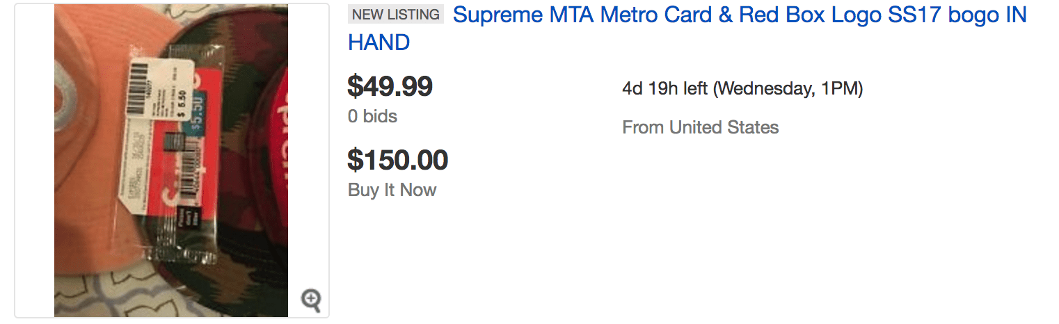 Supreme MTA MetroCard eBay Resell