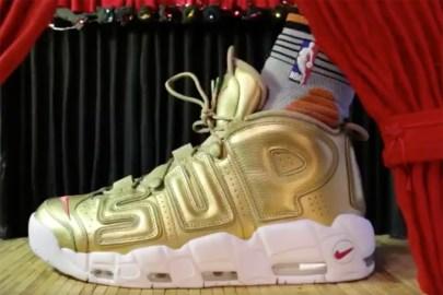 "Derrick Jones Jr. Rocks the ""Gold"" Supreme x Nike Air More Uptempo at the NBA Dunk Contest"