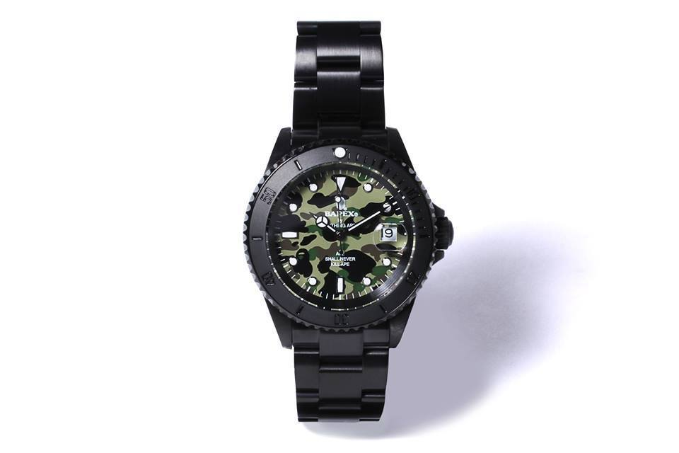 BAPEX Watch Camouflage Face Stainless Steel Solid Gold Solid Black
