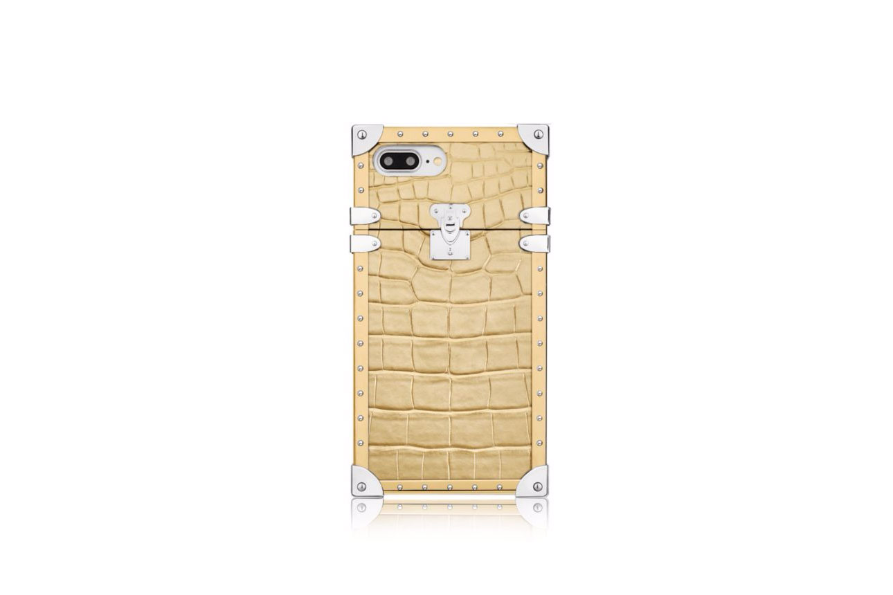 Louis Vuitton Eye-Trunk iPhone 7 Plus golden crocodile leather case