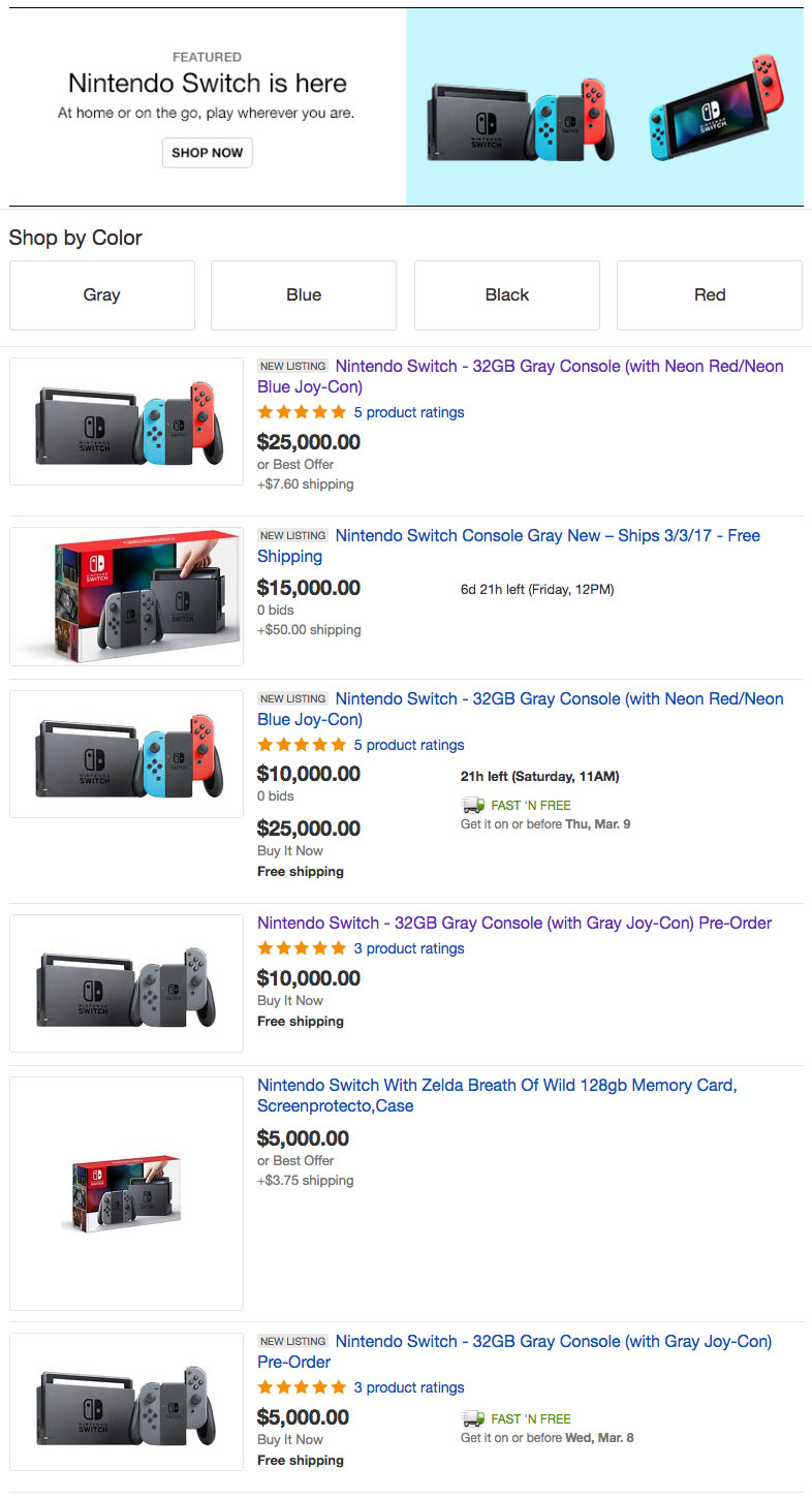 Nintendo Switch $25,000 USD Resell Price Tag