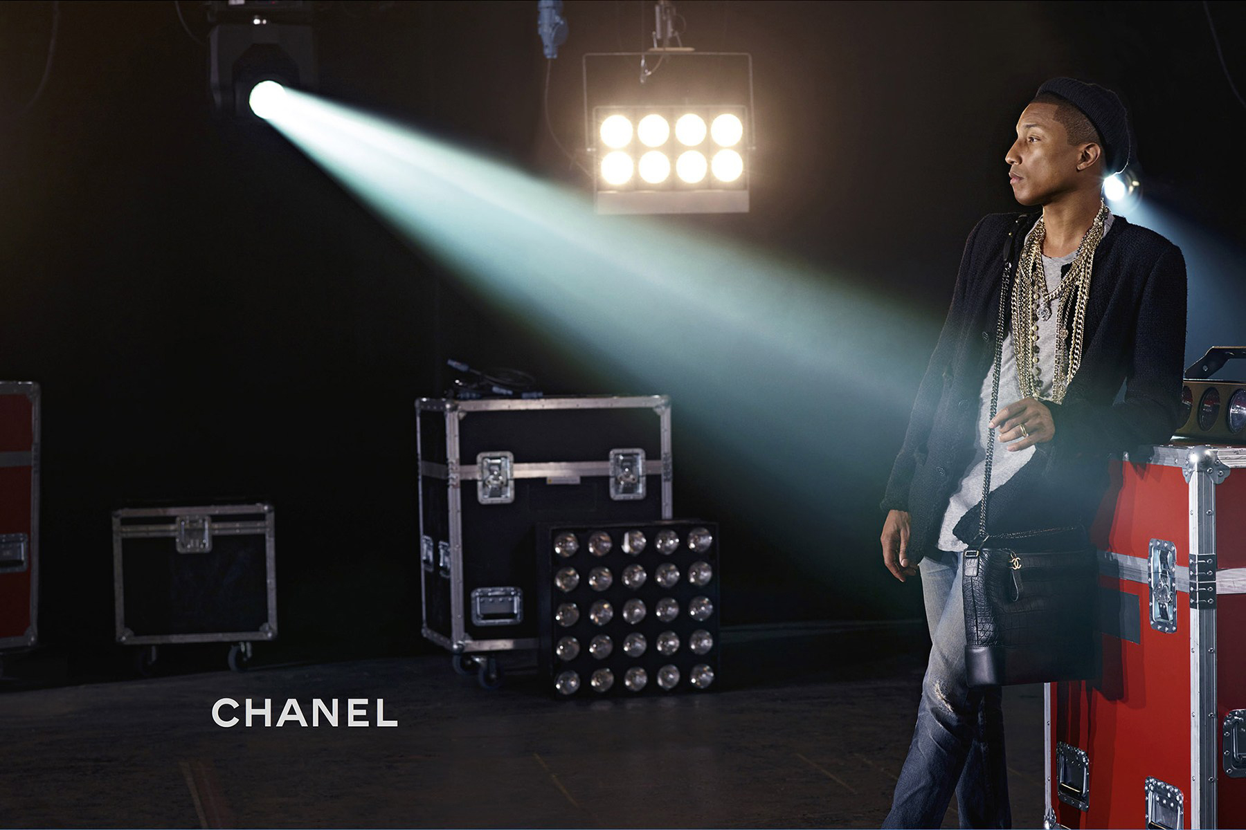 Pharrell Williams Wearing Chanel Gabrielle Bag