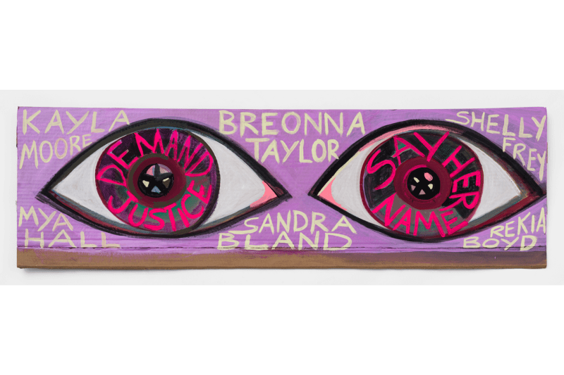 show me the signs auction exhibition billie eilish cardi b nathaniel mary quinn george condo rashid johnson bruno mars david hockney
