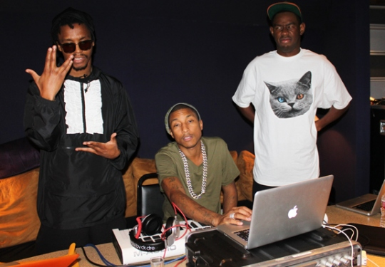 Lupe Fiasco in the studio with Pharrell and Tyler, the Creator