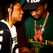 "A$AP Rocky and Theophilus London in the studio recording ""Big $pender"""