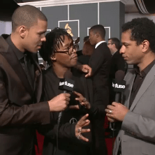 J. Cole, Lupe Fiasco and their mothers on the Grammy Red Carpet