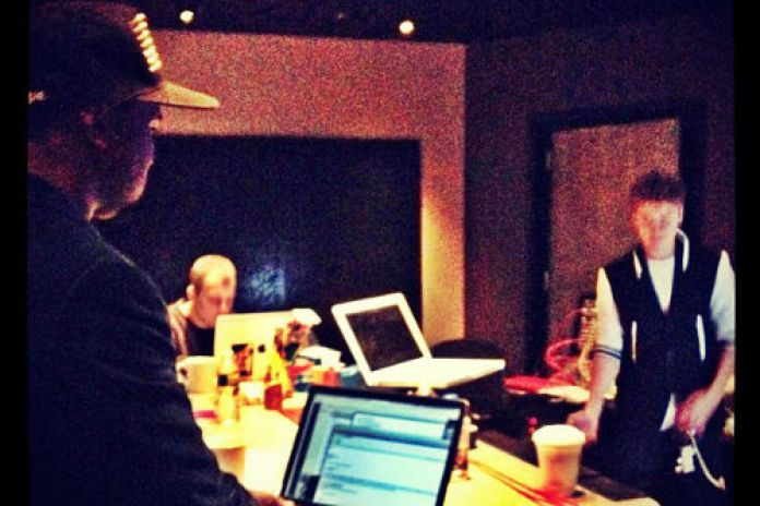 Justin Bieber in the studio with Kanye West