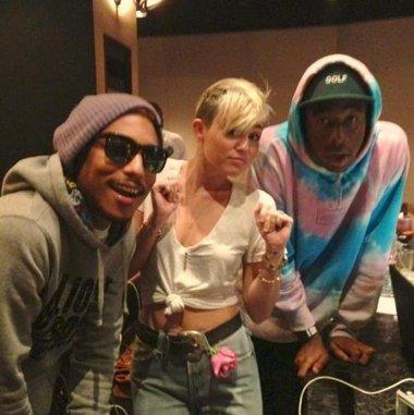 Pharrell Williams, Miley Cyrus & Tyler, the Creator in the Studio