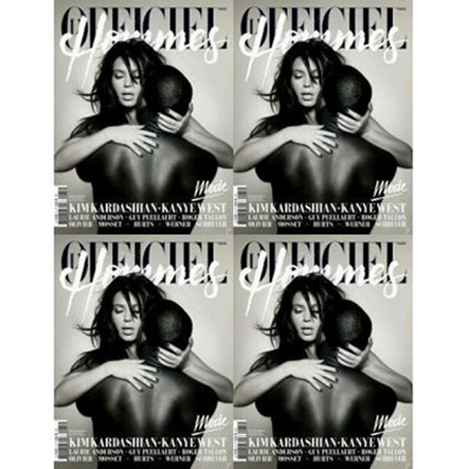 Kanye West & Kim Kardashian Go Nude for French Magazine