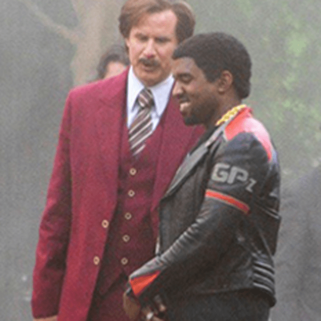 See More Kanye West 'Anchorman 2' Set Pictures